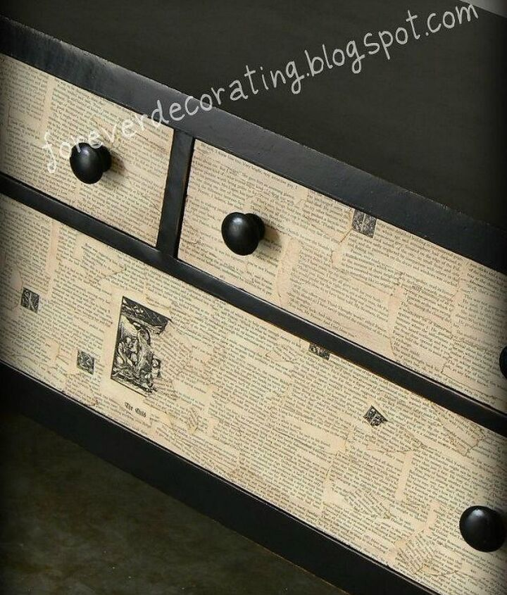 s 13 shocking things you can do with old unwanted books, repurposing upcycling, Use pages to decoupage your dresser
