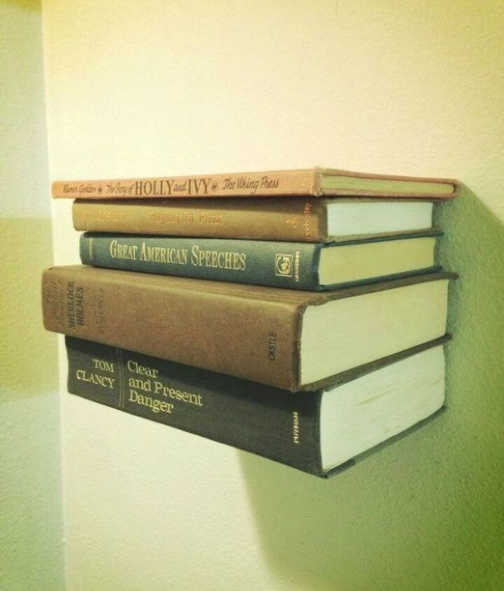 s 13 shocking things you can do with old unwanted books, repurposing upcycling, Stack books into a floating book shelf