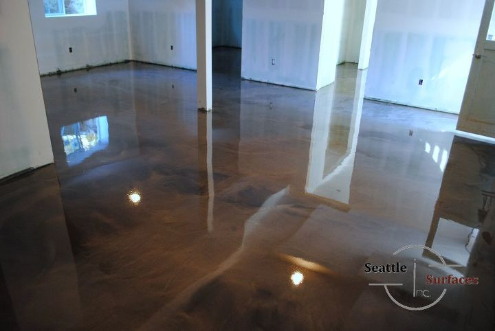 Designer Metallic Epoxy Basement Floor