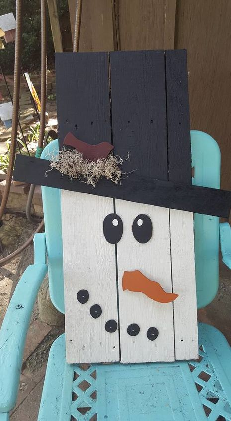 primitive snowman, crafts, how to, pallet, repurposing upcycling