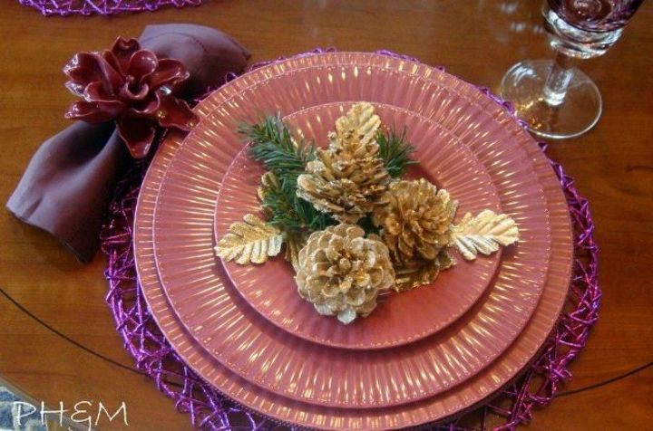 s these cut up pine cone decor ideas are perfect for fall, home decor, Decorate them into sparkly place settings