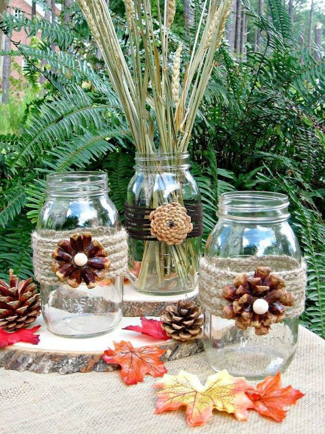s these cut up pine cone decor ideas are perfect for fall, home decor, Use them as gorgeous flowers on mason jars