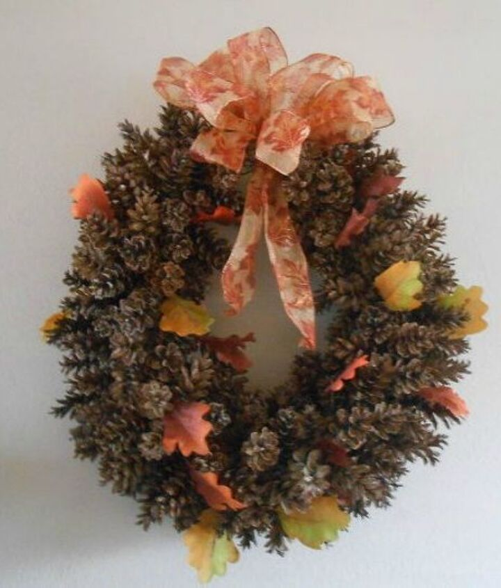 s these cut up pine cone decor ideas are perfect for fall, home decor, Attach them to a chicken wire wreath