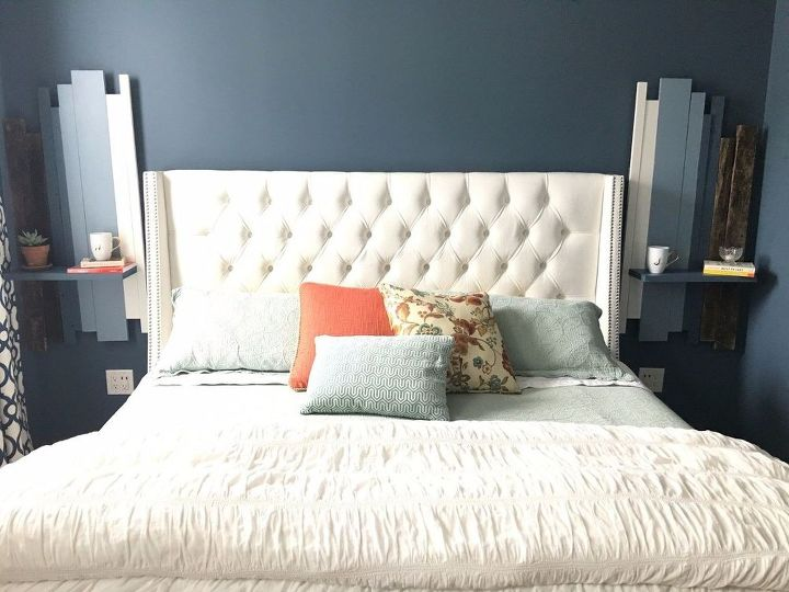 s 17 practical bedroom updates that also look amazing, bedroom ideas, woodworking projects, Floating nightstands that fill empty walls