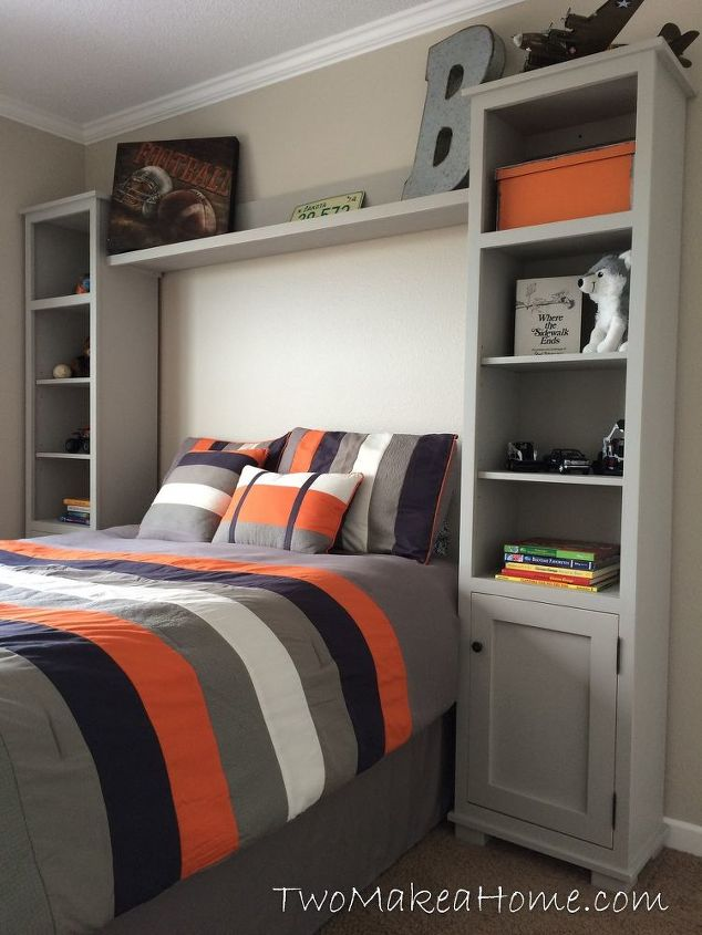 s 17 practical bedroom updates that also look amazing, bedroom ideas, woodworking projects, Storage towers that frame the bed