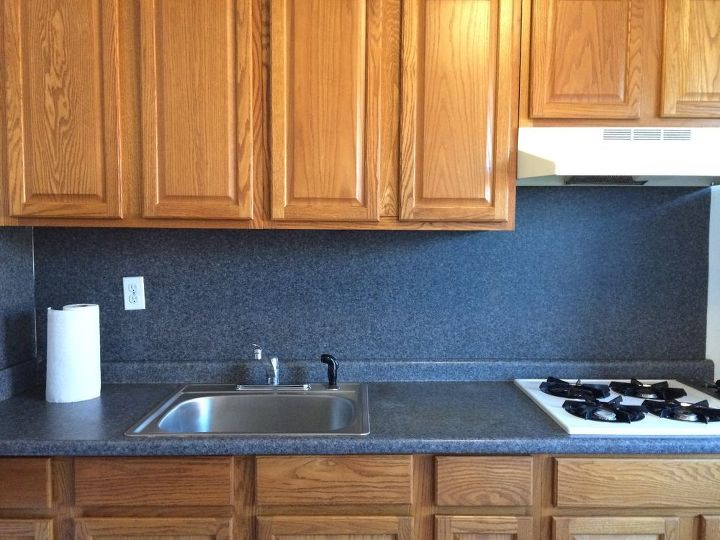 Cover Up This Blue Laminate Backsplash