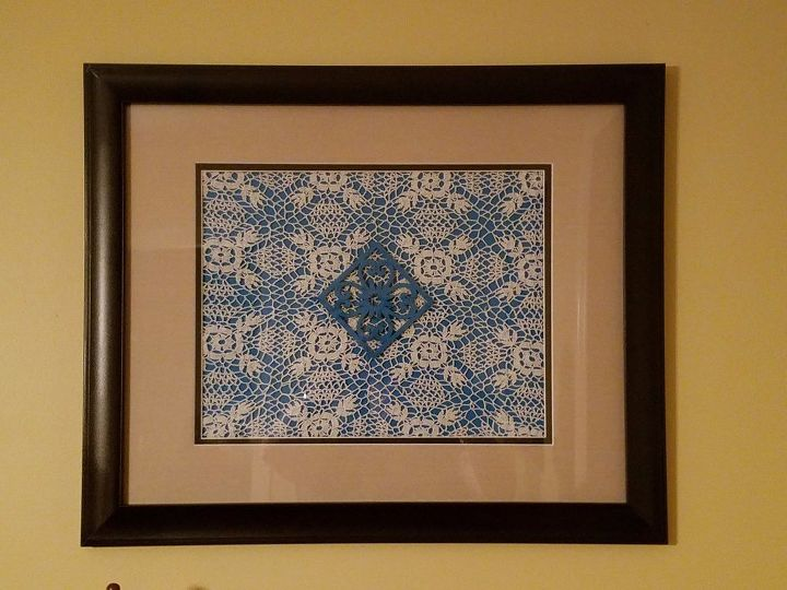 making framed art with handmade doilies hometalk challenge, crafts, how to, wall decor