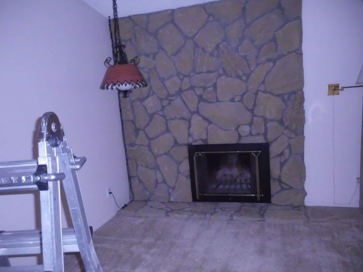 q how to remove large concrete rocks on fireplace, concrete masonry, fireplace makeovers, fireplaces mantels