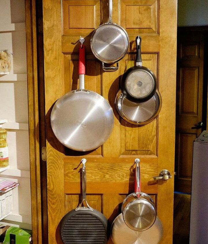 s these are the pantry organizing hacks that you ve been waiting for, closet, organizing, Install hooks to hold pots and pans