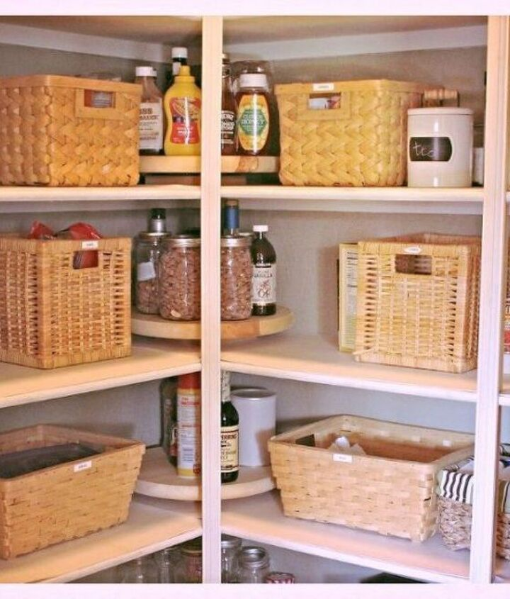s these are the pantry organizing hacks that you ve been waiting for, closet, organizing, Make a lazy susan to easily see everything