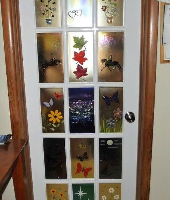 s 13 unique ways to make your front door stand out, curb appeal, doors, Add illustrations to plain glass panels