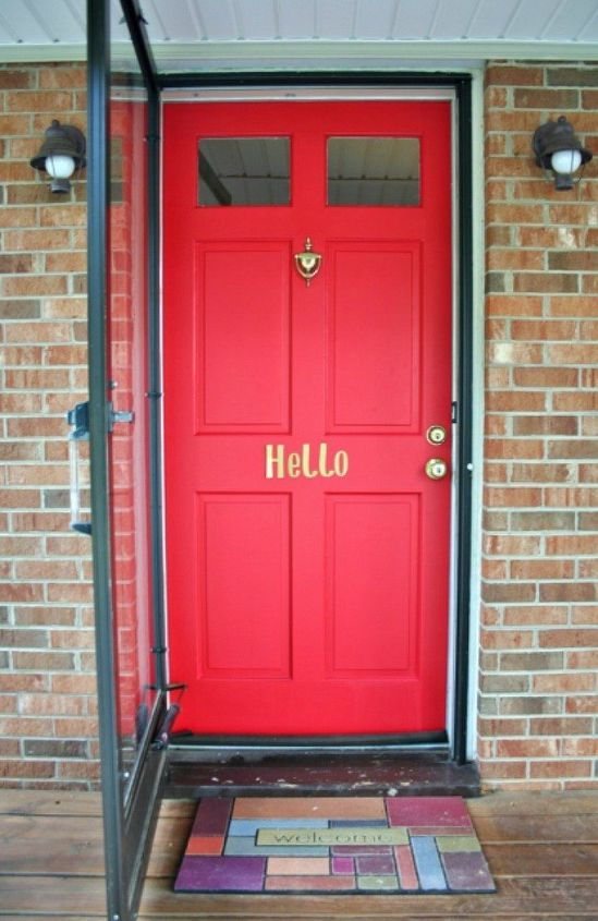s 13 unique ways to make your front door stand out, curb appeal, doors, Stick up a special greeting for guests
