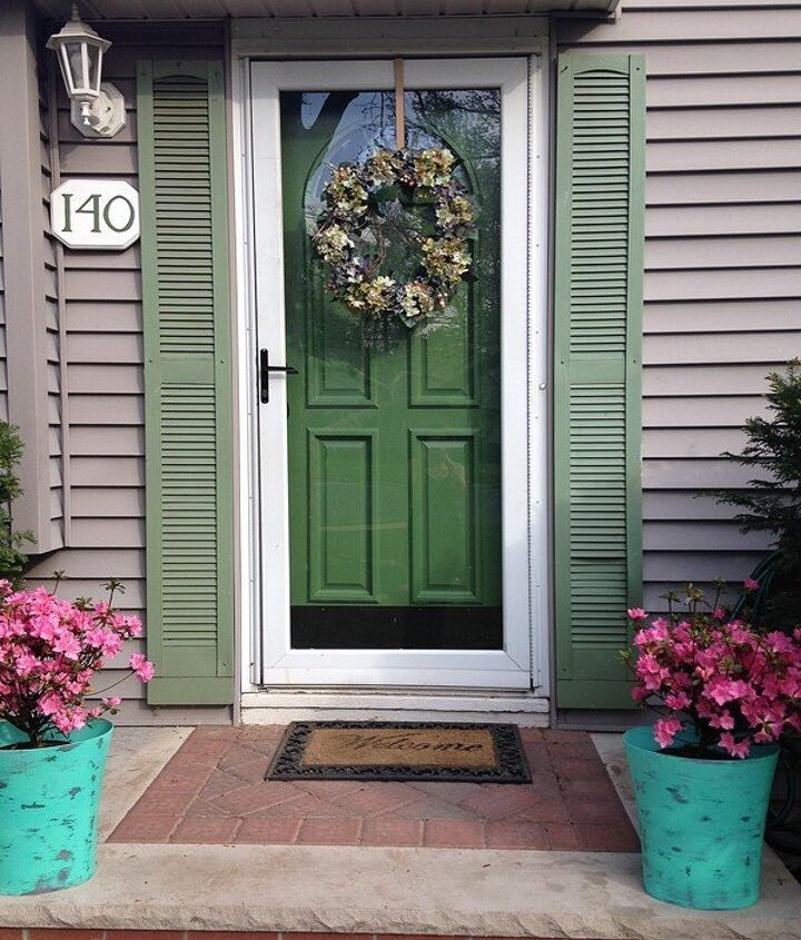 s 13 unique ways to make your front door stand out, curb appeal, doors, Flank your door with painted shutters