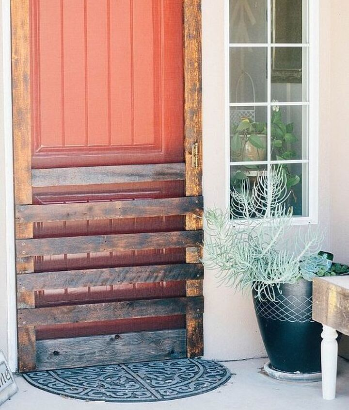 s 13 unique ways to make your front door stand out, curb appeal, doors, Turn pallet boards into a burnt screen door