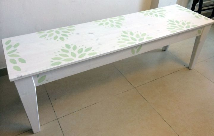 Admirable Leafy Green Ikea Bench Makeover Hometalk Machost Co Dining Chair Design Ideas Machostcouk
