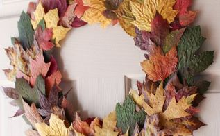 cheap easy diy fall leaves wreath made from real leaves for 0 , crafts, how to, seasonal holiday decor, wreaths