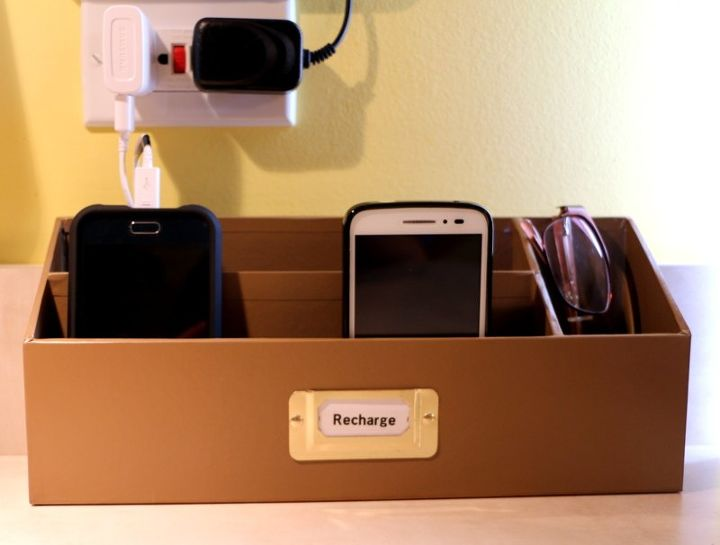 finally a answer to cell phone storage charger problem, how to, organizing, painting, storage ideas, Finished product