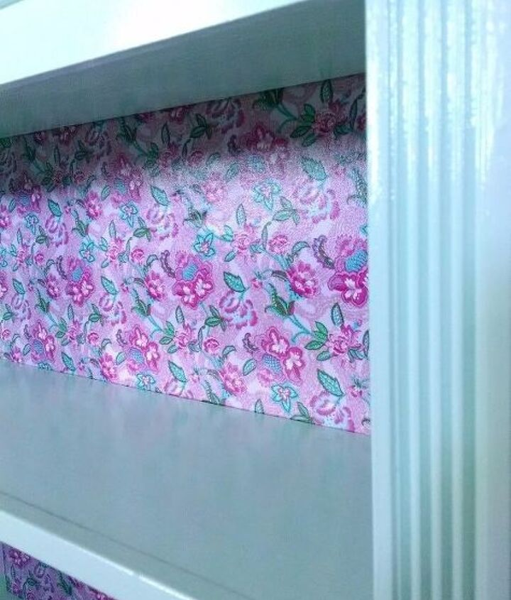 neglected bookshelf puts her tea party dress on, decoupage, painted furniture, shelving ideas