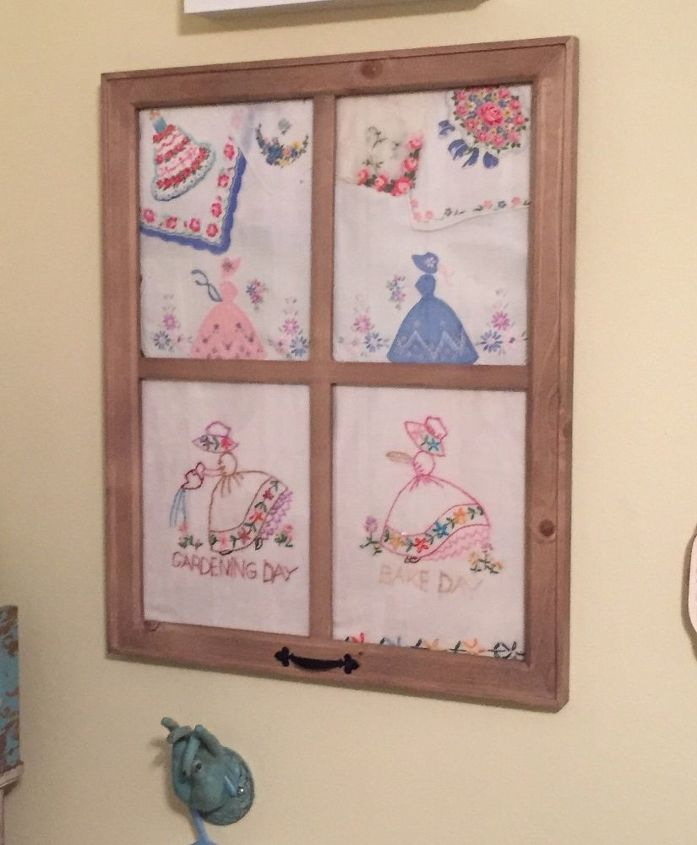 framed vintage linens and hankies , wall decor