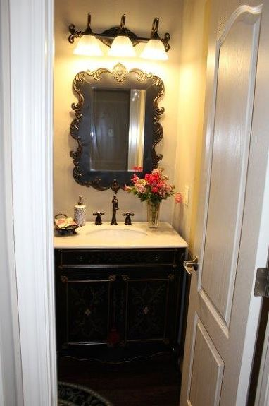 Updating A Powder Bath To Give It French Country Style Bathroom Ideas