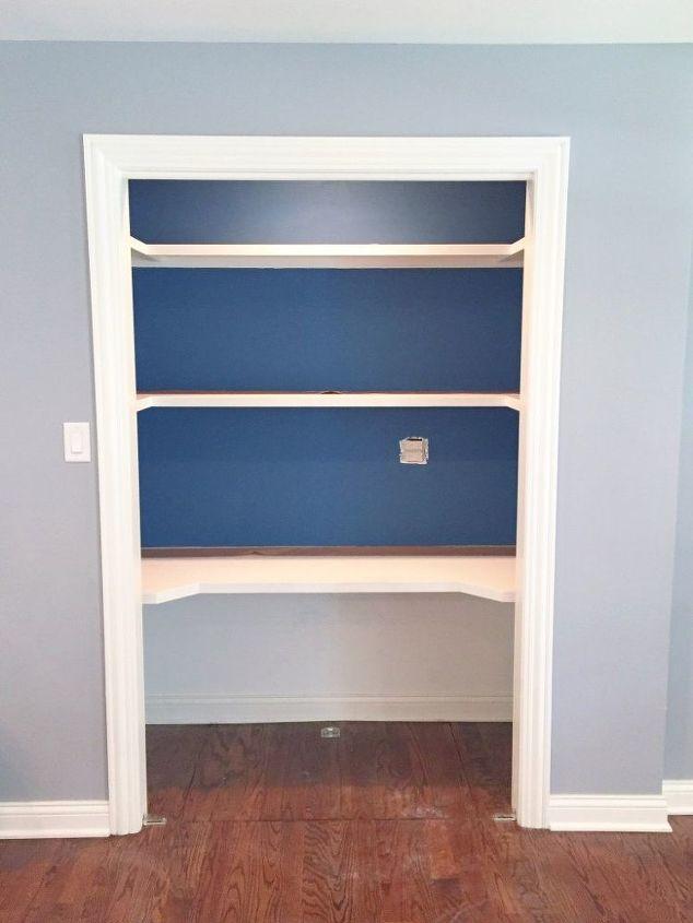 closet desk makeover, closet, home office, painting, storage ideas