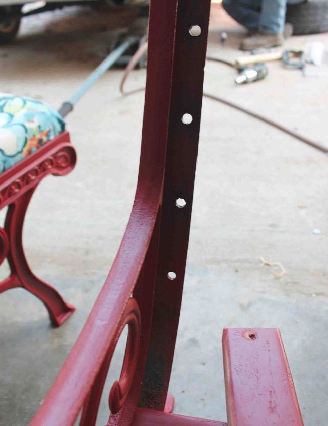 iron bench table into chair ottoman, how to, outdoor furniture, painted furniture, repurposing upcycling