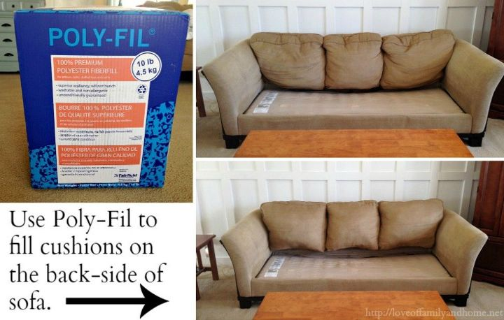s 11 ways to make your beat up couch look brand new, furniture repair, painted furniture, Unzip saggy cushions and stuff with Poly Fil