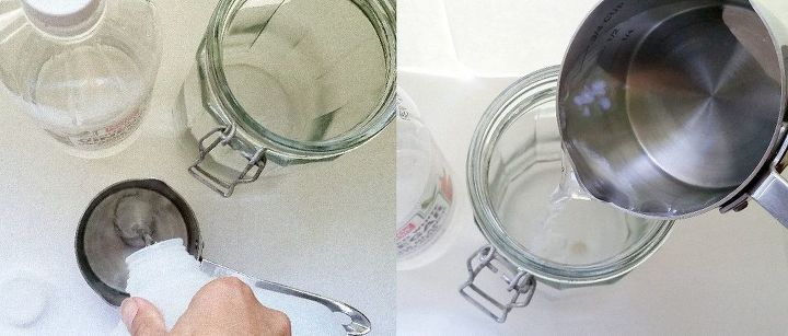 First, add water & vinegar to your jar!