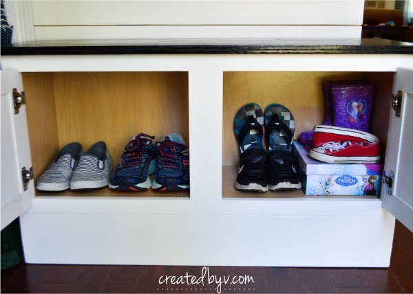 mudroom bench faux shiplap wall, foyer, organizing, painting, wall decor, woodworking projects