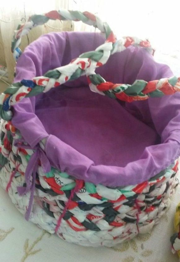 s 11 ways to hide your plastic bags without throwing them away, Weave them into plastic baskets