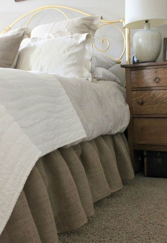 s 10 doable bed skirts with little or no sewing, bedroom ideas, This burlap one that screams farmhouse