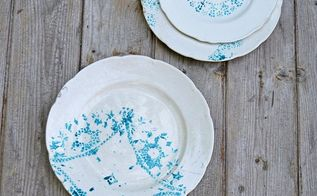 doily stenciled vintage plates, crafts, dining room ideas, how to, painting