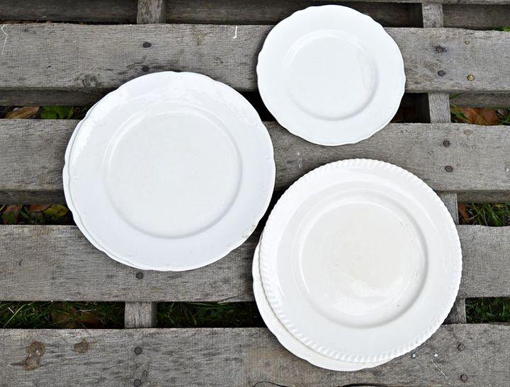 doily stenciled vintage plates