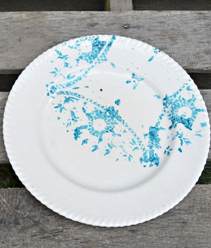 doily stenciled vintage plates