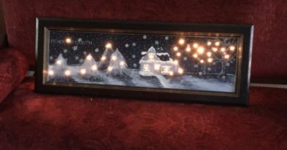Christmas Scene With Lights Using An Old Kitchen Cabinet