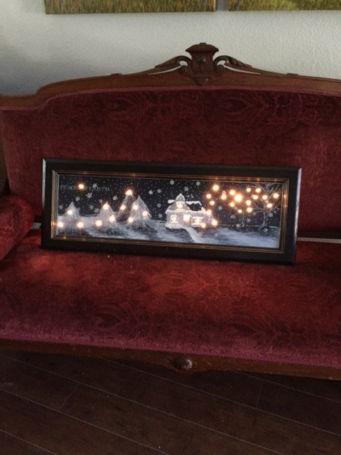 Christmas Scene With Lights Using An Old Kitchen Cabinet Door
