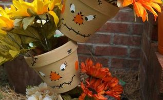 topsy tervy scarecrow painted pots, crafts, gardening, how to, painting, seasonal holiday decor