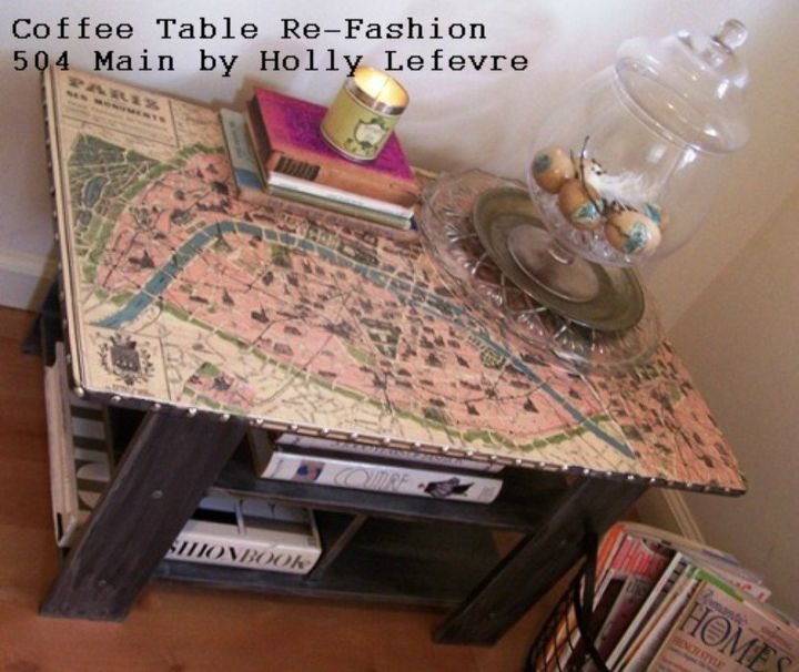 s your quick catalog of gorgeous coffee table makeover ideas, painted furniture, This mapped out one with Parisian accents