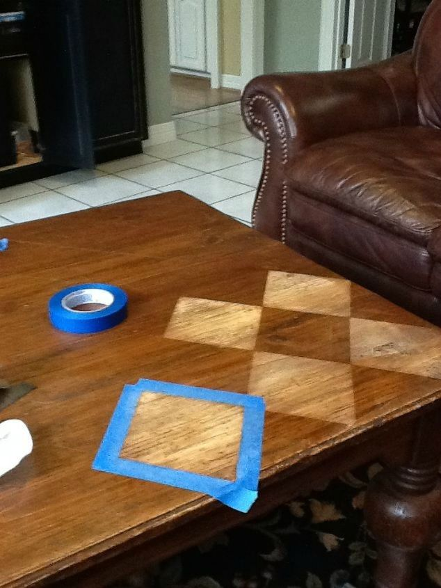 s your quick catalog of gorgeous coffee table makeover ideas, painted furniture, This checkered one with steel wool