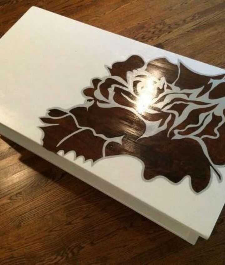 s your quick catalog of gorgeous coffee table makeover ideas, painted furniture, This stenciled one with a dark rose