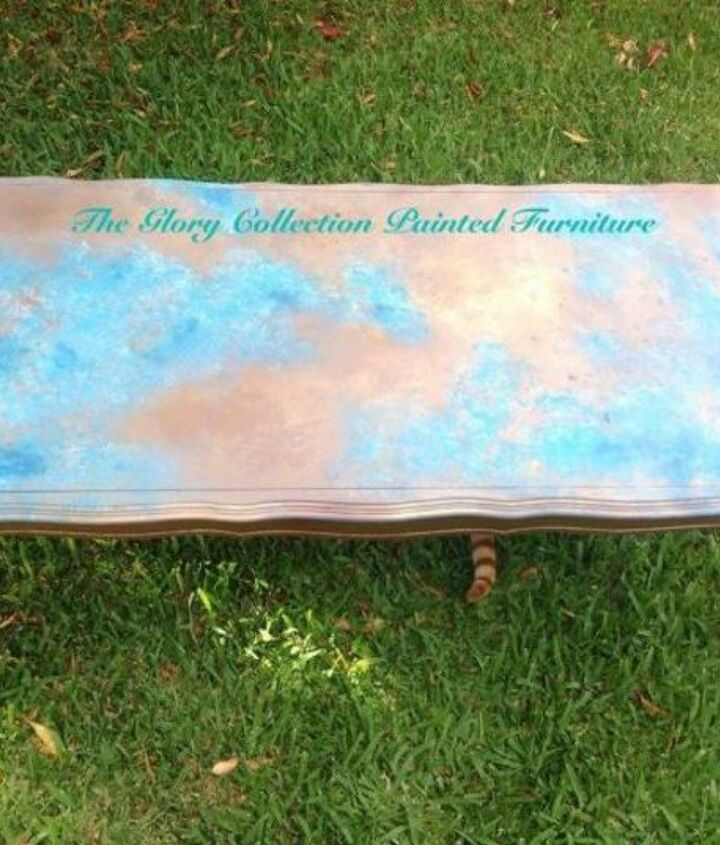 s your quick catalog of gorgeous coffee table makeover ideas, painted furniture, This faux copper patina with turquoise