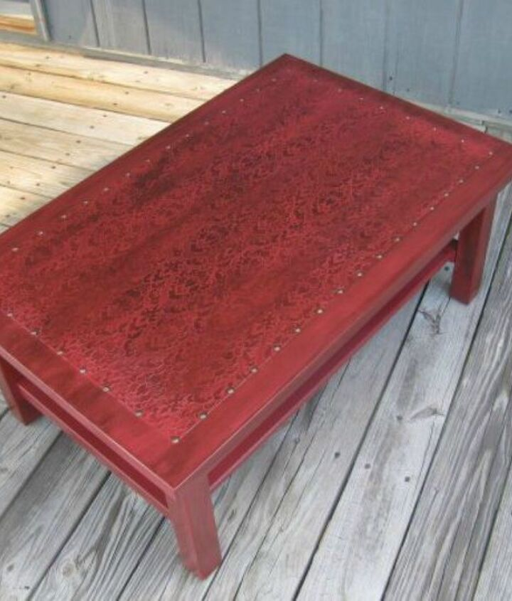 s your quick catalog of gorgeous coffee table makeover ideas, painted furniture, This red one with a faux leather print