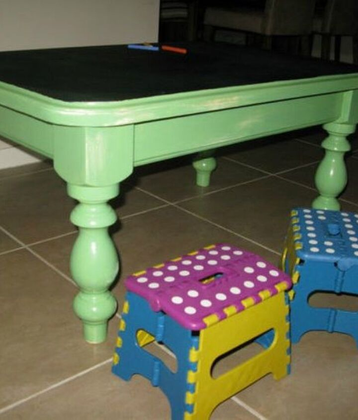 s your quick catalog of gorgeous coffee table makeover ideas, painted furniture, This chalkboard one that s an activity table