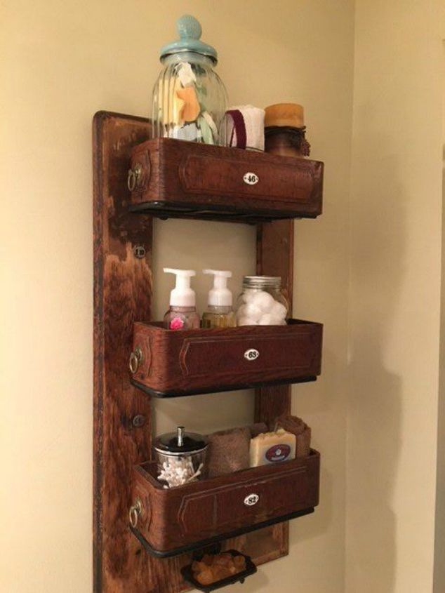 s 12 wildly creative ways to use your old sewing table, painted furniture, Upcycle it into vintage bathroom shelves