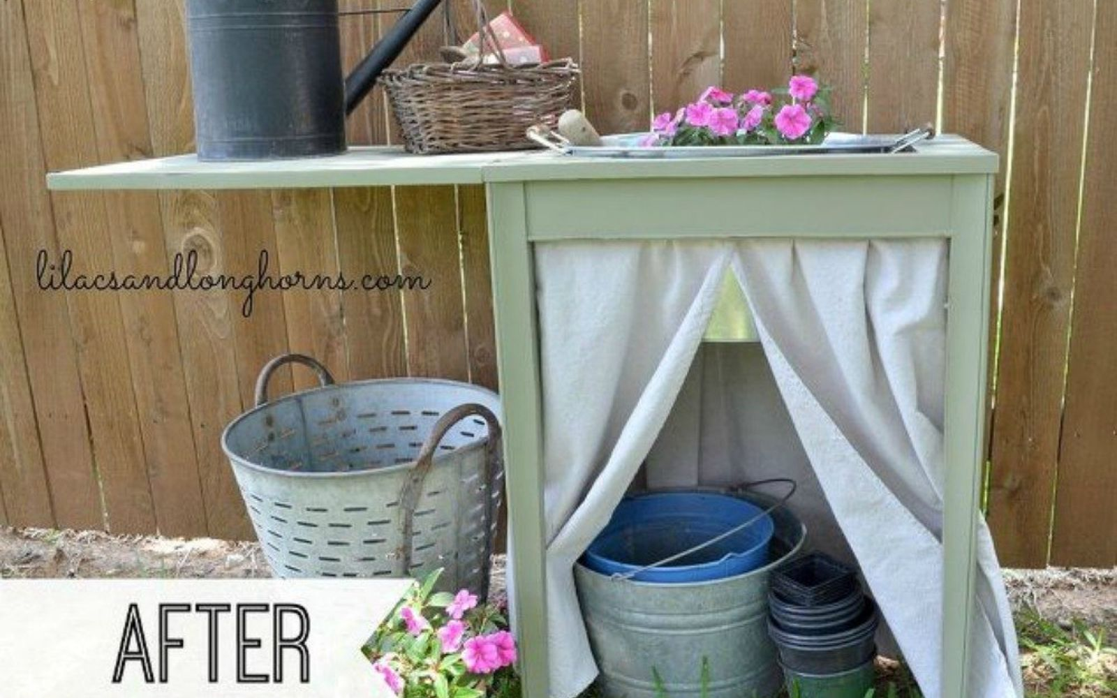 s 12 wildly creative ways to use your old sewing table, painted furniture, Turn it into a perfect potting table