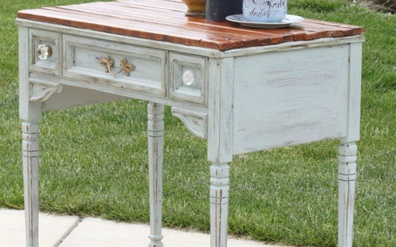 s 12 wildly creative ways to use your old sewing table, painted furniture, Give it a rustic top