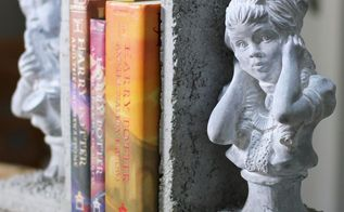 concrete bookends tealights, concrete masonry, crafts, how to, shelving ideas