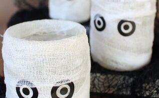 easy homemade mummy luminary for halloween, crafts, halloween decorations, seasonal holiday decor