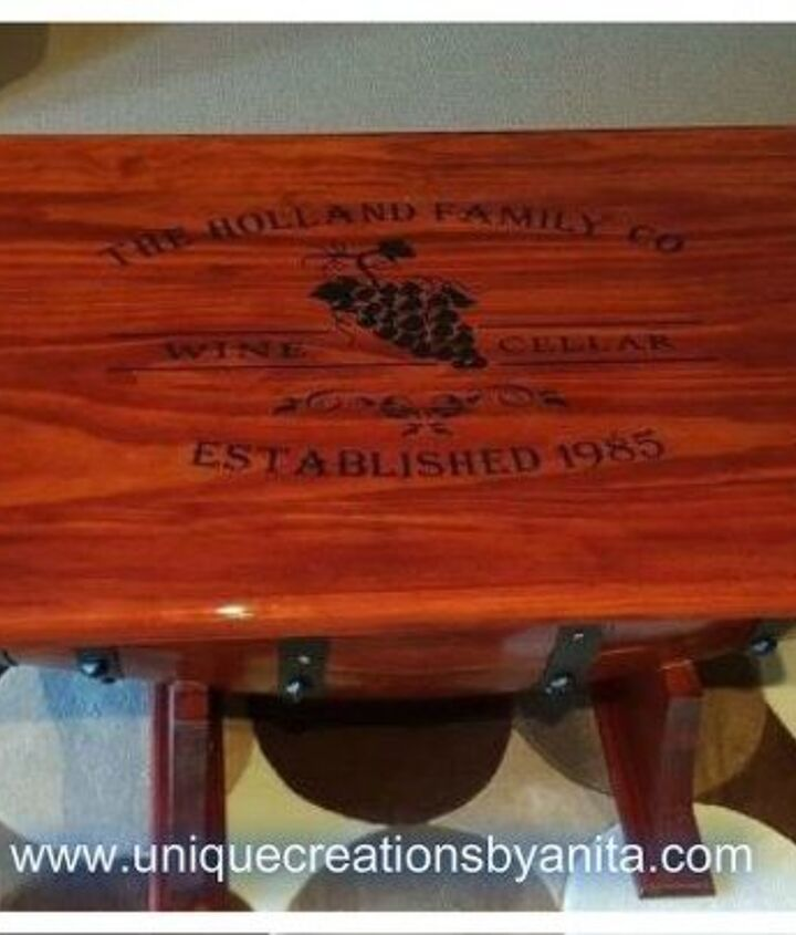 Personalized Wine Barrel Table