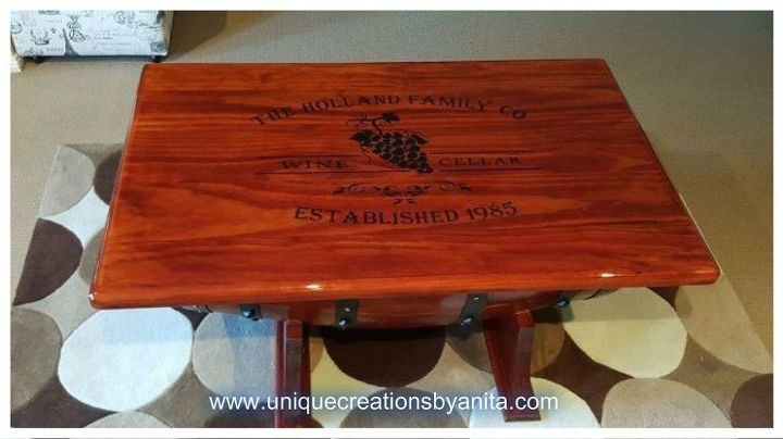how to make a personalized wine barrel table, how to, painted furniture, repurposing upcycling, woodworking projects, Personalized Wine Barrel Table